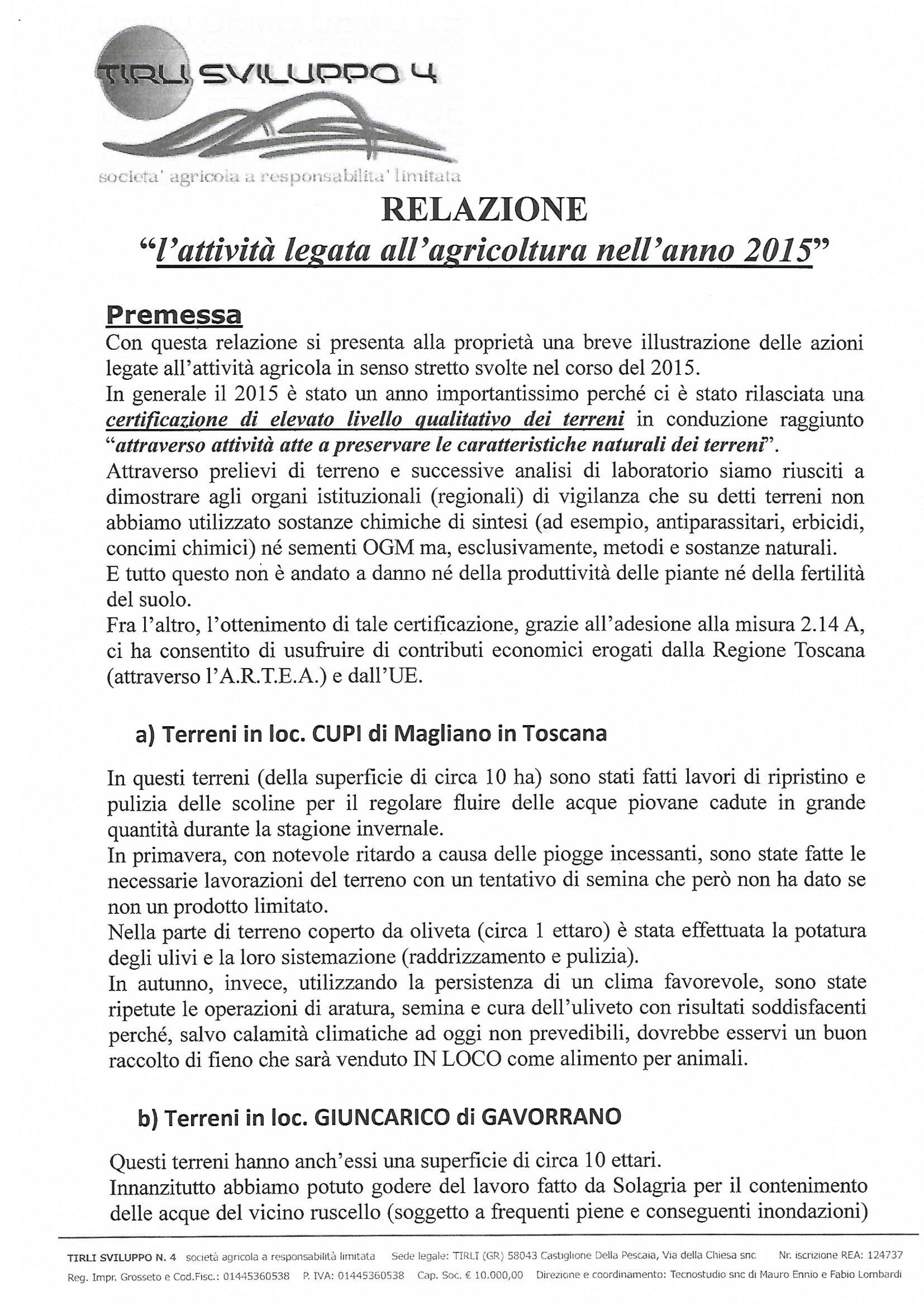 RELAZIONE AGRICOLA 2015-1